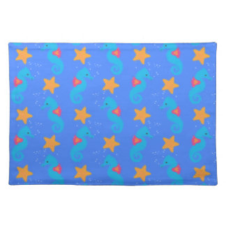 Blue Seahorses And Starfish Pattern Placemat