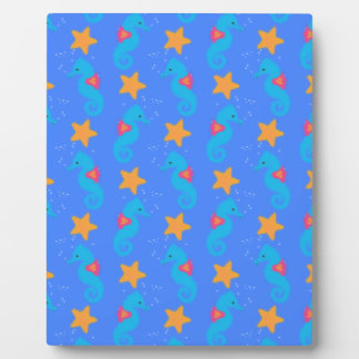 Blue Seahorses And Starfish Pattern Plaque