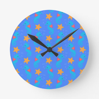 Blue Seahorses And Starfish Pattern Round Clock