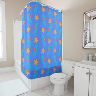 Blue Seahorses And Starfish Pattern Shower Curtain