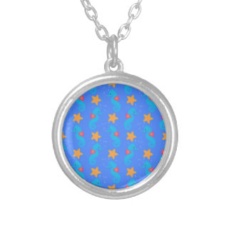 Blue Seahorses And Starfish Pattern Silver Plated Necklace