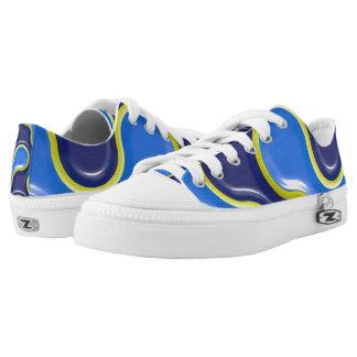 Blue Seamless Curve Texture Design Zipz Shoes