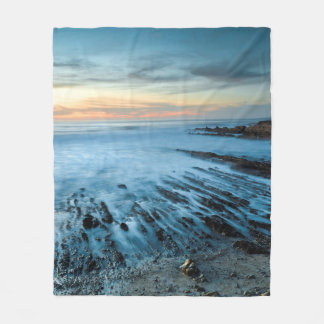 Blue seascape at sunset, California Fleece Blanket