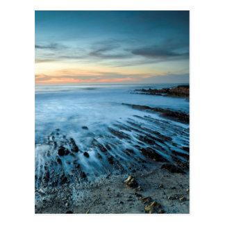 Blue seascape at sunset, California Postcard