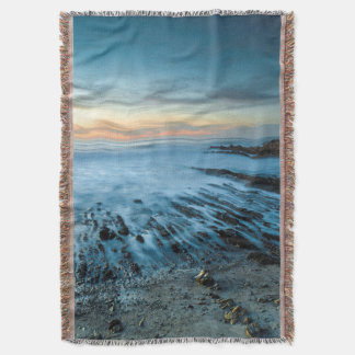 Blue seascape at sunset, California Throw Blanket