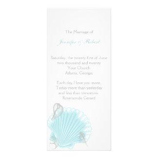 Blue Seashell Beach Wedding Program Rack Card