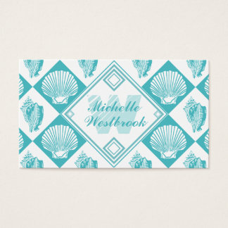 Blue Seashell Diamond Nautical Beach Monogram