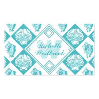Blue Seashell Diamond Nautical Beach Monogram Double-Sided Standard Business Cards (Pack Of 100)