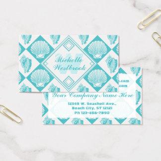 Blue Seashell Diamond Nautical Beach Monogram Business Card