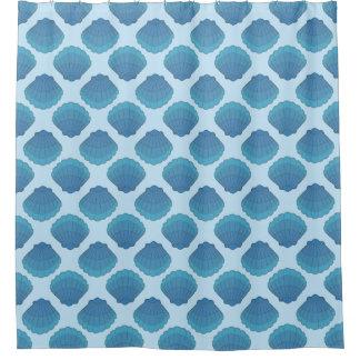Blue Seashell Mosaic Pattern Shower Curtain