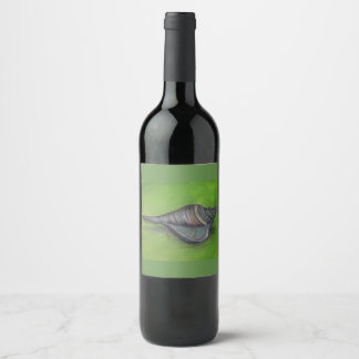 blue seashell on green wine label