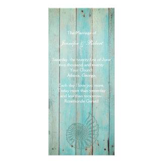 Blue Seashell on Wood Beach Wedding Program Personalised Rack Card