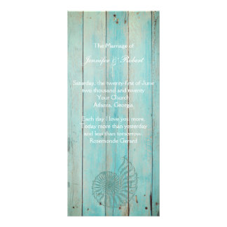 Blue Seashell on Wood Beach Wedding Program Rack Card
