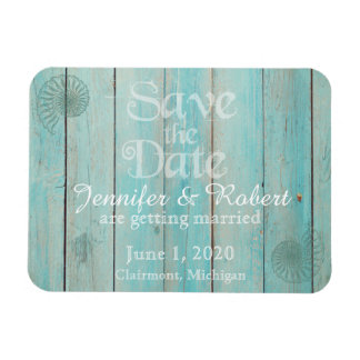 Blue Seashell on Wood Beach Wedding Save the Date Magnet