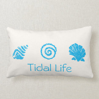 Blue Seashell Trio Tidal Decor Pillow