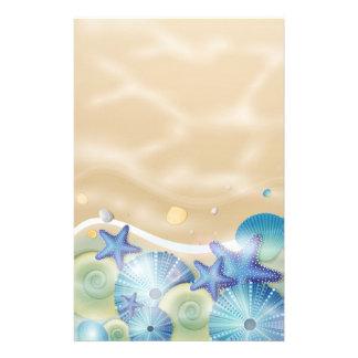 Blue Seashells & Starfish Stationery