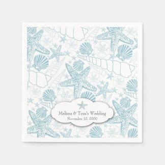 Blue Seashells Wedding or boy Baby Shower napkins Disposable Napkin