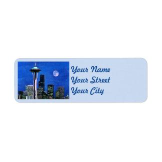 Blue Seattle Skyline Return Address Label
