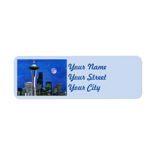Blue Seattle Skyline Return Address Label