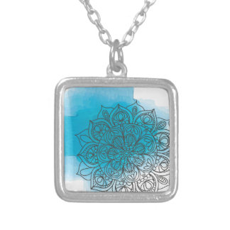 Blue send it silver plated necklace