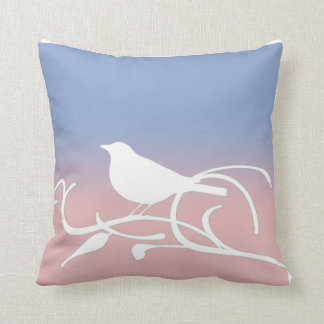 Blue Serenity and Rose Quartz Bird on a Branch Cushion