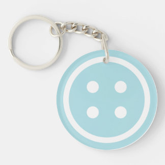Blue Sewing Button Key Ring