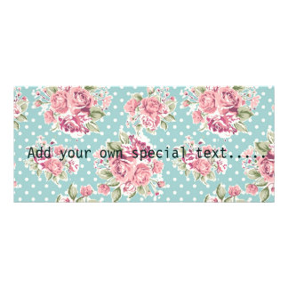 Blue ,shabby chic,polka dot white,floral pink,fun, rack card
