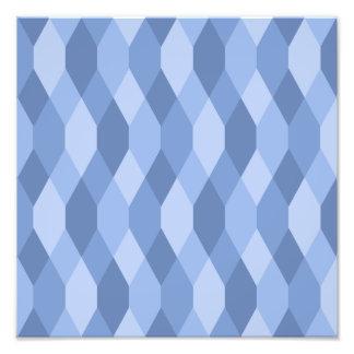 Blue Shades Rhombus And Hexagon Pattern Photo Print
