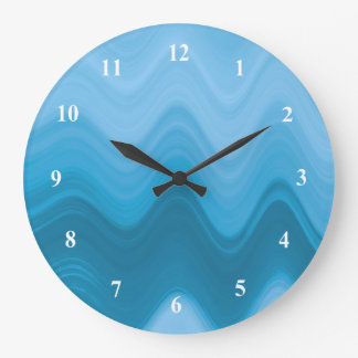 Blue shades wave pattern large clock