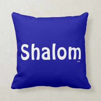 Blue Shalom and Candle Throw Pillow