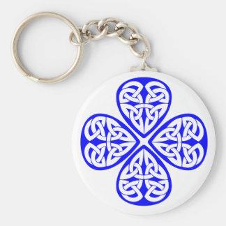 blue shamrock celtic knot basic round button key ring