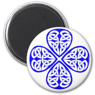blue shamrock celtic knot fridge magnet