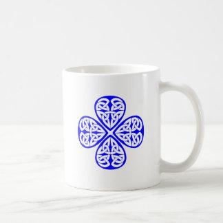 blue shamrock celtic knot coffee mug