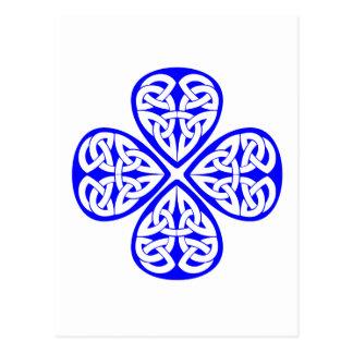 blue shamrock celtic knot postcards
