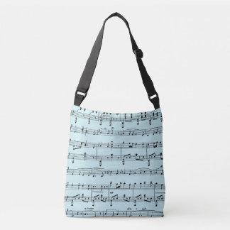 Blue Sheet Music Crossbody Bag