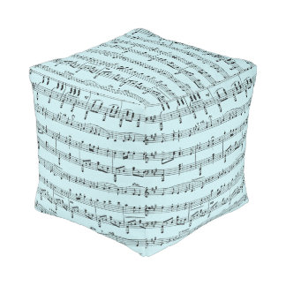 Blue Sheet Music Pouf