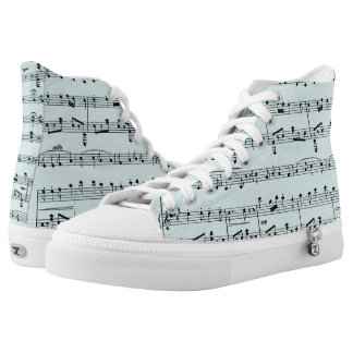 Blue Sheet Music Printed Shoes
