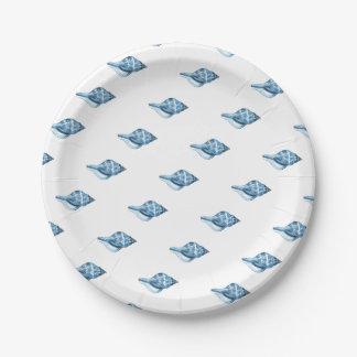 Blue shell coastal nautical ocean beach paper plate