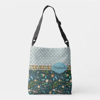 Blue Shells and Flowers Design Crossbody Bag