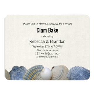 Blue Shells Clam Bake Rehearsal Dinner Invitation