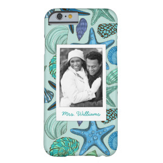 Blue Shells & Starfish Pattern   Your Photo & Name Barely There iPhone 6 Case
