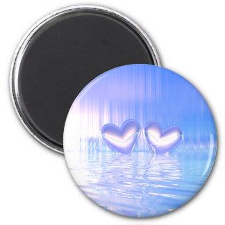 Blue Shimmer Hearts 6 Cm Round Magnet