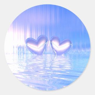 Blue Shimmer Hearts Round Sticker