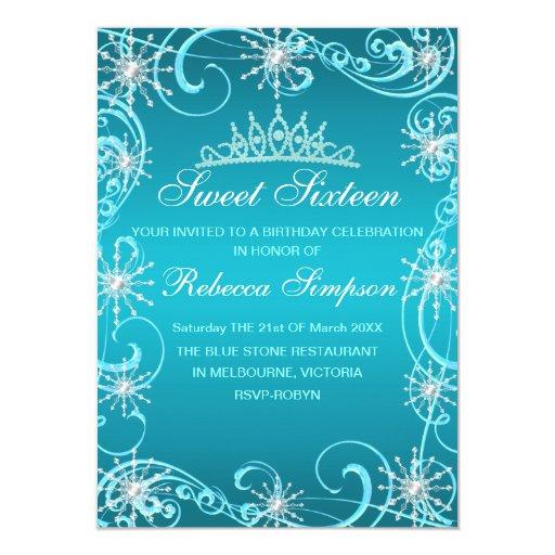 Blue Shimmer Snowflake Birthday Invite 11 Cm X 16 Cm Invitation Card