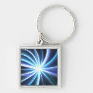 Blue Shining Solar Fractal Starburst Key Ring
