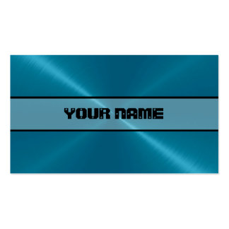 Blue Shiny Stainless Steel Metal 4 Pack Of Standard Business Cards