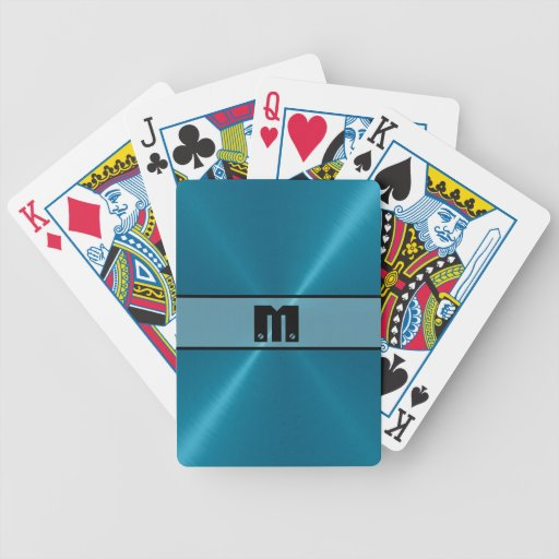 Blue Shiny Stainless Steel Metal 5 Bicycle Poker Cards