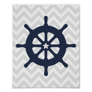 Blue Ship Wheel Nautical Nursery Poster