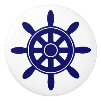 Blue Ship Wheel  Nautical Themed Cabinet Knob