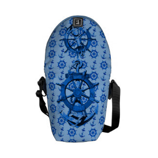 Blue Ships Wheel And Anchor Courier Bags